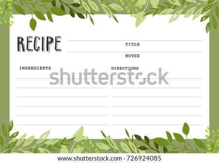 Recipe Card Cookbook Template Page Stock Vektorgrafik Lizenzfrei