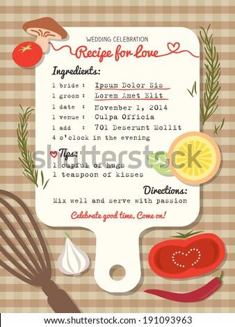 Recipe Card Creative Wedding Invitation Design Image Vectorielle De