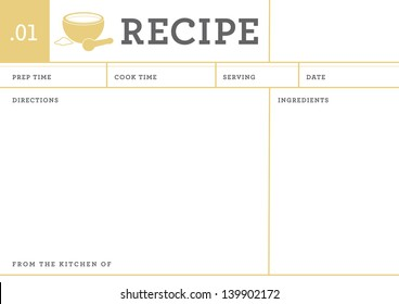 recipe card. kitchen note template