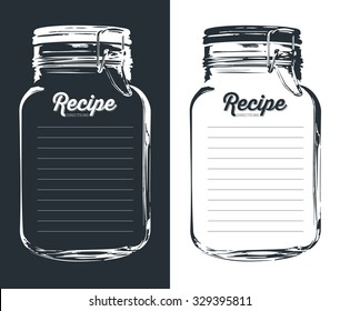 Recipe card with lines text and big jar glass with a hook in dark blue and white. To use for writing down a recipe. Vector and illustration design.