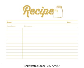 Recipe card with small glass jars. To use for creating a new recipe and writing down. Vector and illustration design.