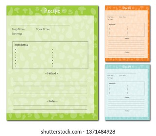 Recipe card template food background vector