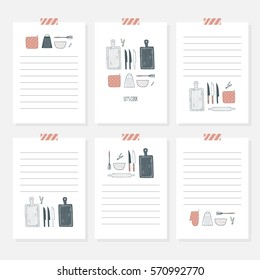 Recipe cards. Cooking card template set. Hand drawn culinary notes with doodle kitchen utensils. Vector illustration, isolated
