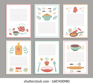 Recipe cards. Culinary book blank pages. Cookbook stickers, cute home menu. Banners for baking cooking with doodle kitchen tools vector set
