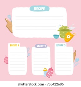 Recipe cards set. Cooking card template. Culinary notes or sticker with cute kitchen utensils.
