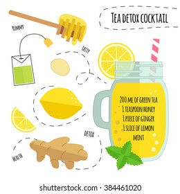 Recipe detox cocktail with green tea, lemon, ginger, honey. Vector illustration for greeting cards, magazine, cafe and restaurant menu. Fresh smoothies, detox, fruit  cocktail  for healthy life, diets