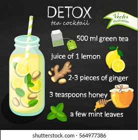 Recipe detox cocktail with green tea, lemon, ginger, honey, mint. Vector illustration for diet menu, cafe and restaurant menu. Fresh smoothies, detox, fruit cocktail for healthy life.