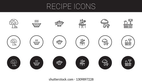 recipe icons set. Collection of recipe with mushroom, soup, sauce, mushrooms, tools and utensils. Editable and scalable recipe icons.