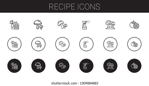 recipe icons set. Collection of recipe with sauce, mushrooms, mushroom, tools and utensils, tomatoes. Editable and scalable recipe icons.