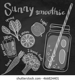 Recipe illustration smoothie (cocktail) with spinach, oranges, apples, orange juice, broccoli, carrots. Vector hand drawn illustration for recipe books, magazines, menu. Scandinavian style