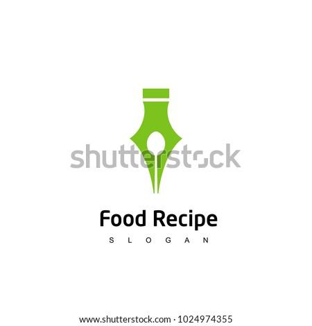 recipe logo recipe writer design template stock vector royalty free