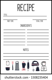 Recipe page template vector, A4 printable page for planner, diary, notebook or organiser, cook book.