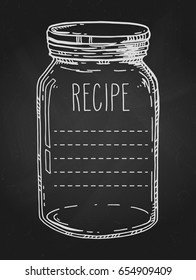 Recipe template. Vector hand drawn illustration with vintage mason jar. Contour chalk sketch in white over black chalkboard.