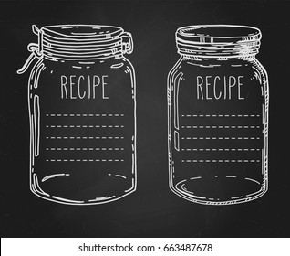 Recipe templates. Vector hand drawn illustration with vintage mason jars. Contour chalk sketch in white over black chalkboard.