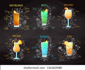 Recipes for different cocktails. Mojito, Pina Colada, Blue Lagoon and others. Vector illustration