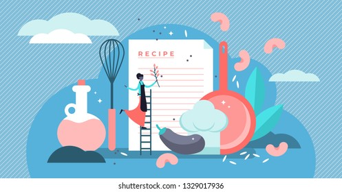 Recipes vector illustration. Flat tiny chef write ingredients list concept. Kitchen cooking book with healthy and tasty meal dinner. Organic gourmet dish for vegetarian. Homemade culinary text notes.