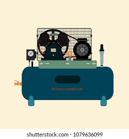 Reciprocating piston air compressor, energy machine for compressing and supplying air or gas under pressure. Automated technical equipment.