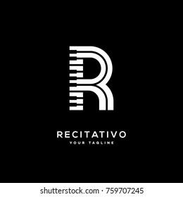 Recitativo logo template design with stylized letter R. Vector illustration.