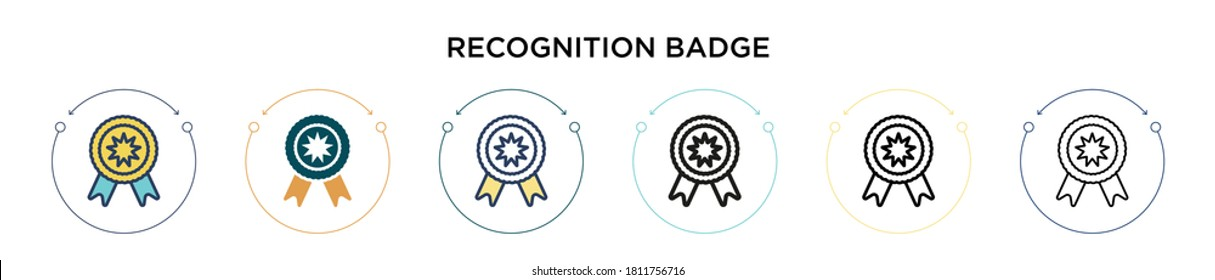 Recognition badge icon in filled, thin line, outline and stroke style. Vector illustration of two colored and black recognition badge vector icons designs can be used for mobile, ui, web