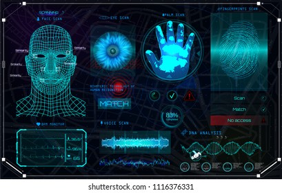 Recognition Biometric Technology and Artificial Intelligence Concept! HUD UI Identification Interface. Elements scanning: Fingerprints, Eye, Voice, Palm and Face. Color Full in HUD Style. Set Elements