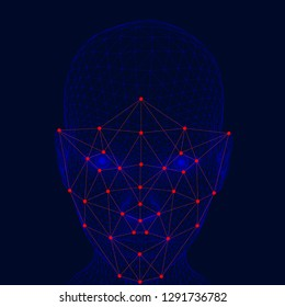 Recognition of the girl's face. The polygonal wireframe of the girl's head demonstrates face recognition technology. A lot of points and lines for recognizing a person's personality.
