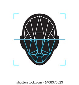 Recognition icon. Face id identity biometric verification sign. Authentication technology mobile phone, smartphone, other devices.