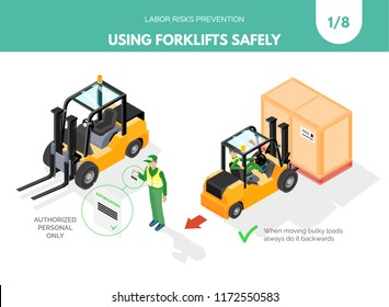 Recomendations about using forklifts safely. Labor risks prevention concept. Isometric design isolated on white background. Vector illustration. Set 1 of 8.