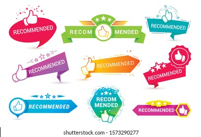 Recommend badges creative vector templates set. Recommendations colorful tags design with thumbs up isolated on white background. Best products, approved quality, warranty paper ribbons collection