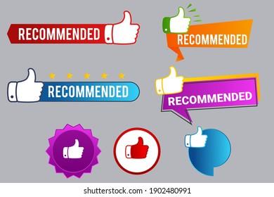 Recommend badges creative vector templates set