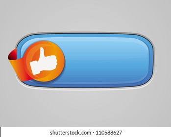 Recommendation button - with like sign - vector glossy illustration