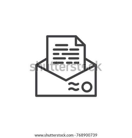 recommendation letter envelope line icon outline vector sign linear style pictogram isolated on white