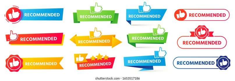 Recommended banner. Best recommendation badge, bestseller tag and tor rating advice banners vector set. Thumb up icons with color ribbons, promotion marketing advertising stickers, positive feedback