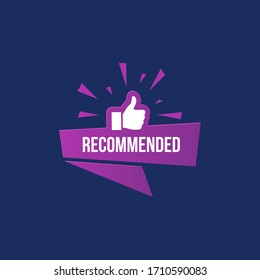 Recommended banner with like sign thumbs up gesture isolated on dark blue background. High quality promotion, advertisement poster. Recommendation and positive feedback. Social engagement