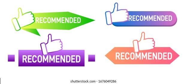Empfohlene Bezeichnung mit Daumen nach oben. Geometrisches Banner. Bester Empfehlungsausweis, Bestseller-Tag und Rating Ratgeber Banner Vektorillustration Set.