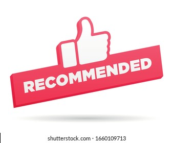 Recommended red banner with thumbs up