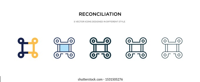 reconciliation icon in different style vector illustration. two colored and black reconciliation vector icons designed in filled, outline, line and stroke style can be used for web, mobile, ui