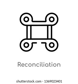 reconciliation vector line icon. Simple element illustration. reconciliation outline icon from zodiac concept. Can be used for web and mobile