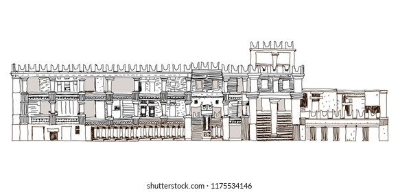 Reconstruction of Knossos palace in Crete, Greece. Sketch collection famous building on the world