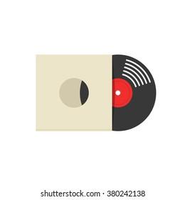 Record album cover vector illustration, retro vinyl album cover, record sleeve, vinyl paper cover flat icon symbol, label, covering mockup, modern design isolated on white background