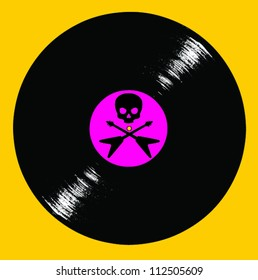 Record Album with Skull and Crossed Flying V Guitars on Yellow Background