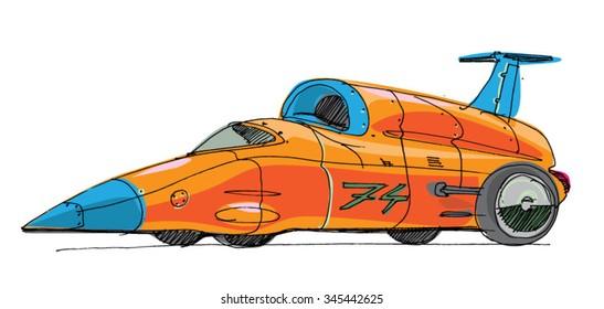 record car - cartoon