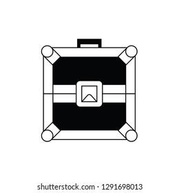 Record flight case flat vector pictogram.