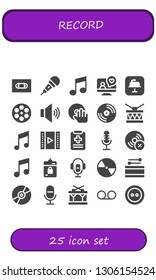 record icon set. 25 filled record icons.  Simple modern icons about  - Vhs, Microphone, Music, Videocall, Keynote, Film reel, Volume, DJ, Vinyl, Drum, Video, Medical report, Vynil