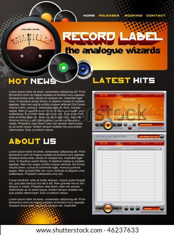 record label web design template stock vector royalty free