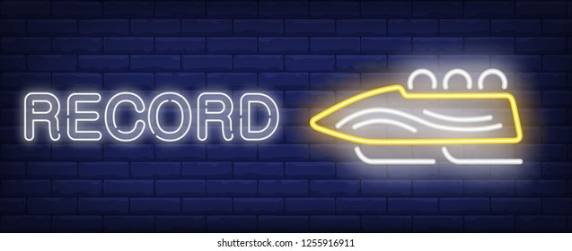 Record neon sign. Glowing inscription with yellow bobsleigh on brick wall background. Vector illustration can be used for sport, competition, bobsleigh