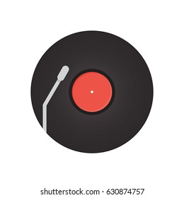 Record  on background vector concept. Music illustration in modern flat style. Color picture for design web site, web banner, printed material. Vinyl record flat icon.