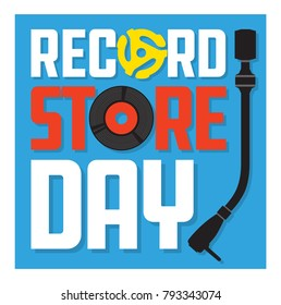 Record Store Day Album Cover Design Vector design featuring vinyl record, record insert spindle adaptor, turntable tone arm and the words Record Store Day. Easy to edit and fully scalable.