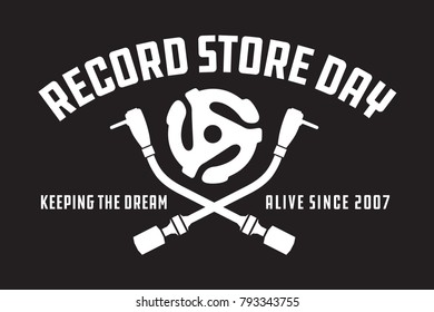 Record Store Day Badge or Emblem Vector Design Black and white design featuring crossed turntable tone arms and vinyl record spindle adaptor insert, with the words Record Store Day, keeping the dream