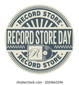 Record Store Day, rubber stamp, vector Illustration