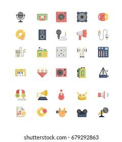 Record studio outline icons vector.
